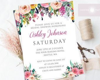 Bridal Shower Invitation, Bridal Shower Invites, Wedding Shower Invitation, Printable, Watercolor Flower, Purple Invite, DIY, jadorepaperie