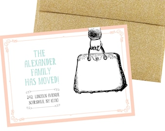 Moving / New Address Announcement - Vintage Packed Bag - DEPOSIT