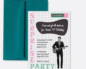 Elvis party invitations etsy elvis presley milestone birthday invitation surprise party retro design filmwisefo