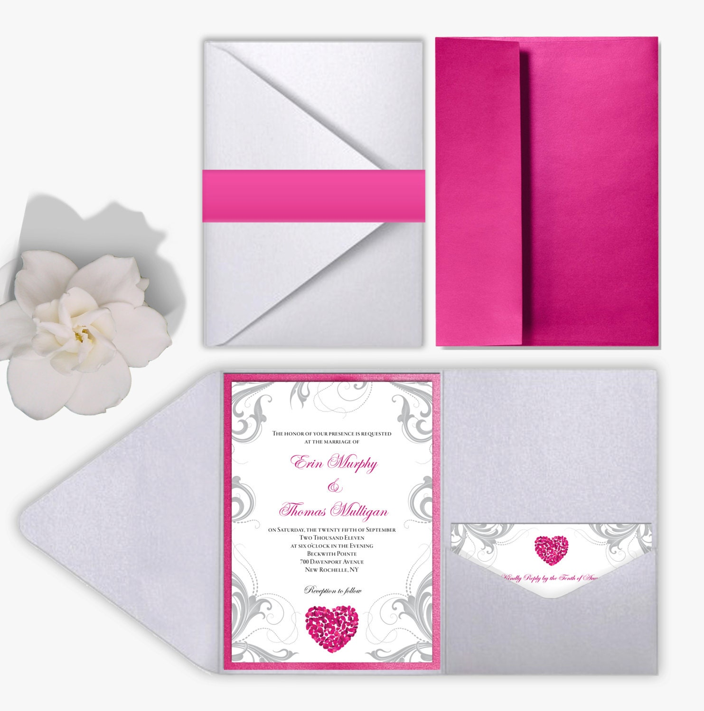 Wedding Invitation Set Pink Rose Petals Heart & Silver