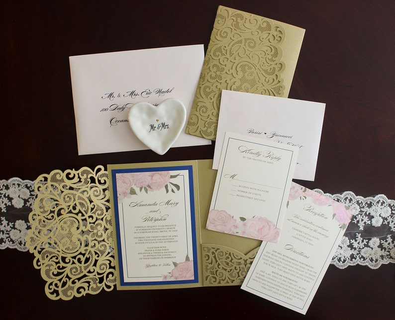 Wedding Invitation  Laser Cut Pocket & Thermography Printed  image 0