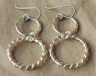 Pure Titanium Earrings / Hypoallergenic Hoop Earrings / Allergy Free Earrings Hoops - Two Tall Twisted Silver Plated Hoop Dangle