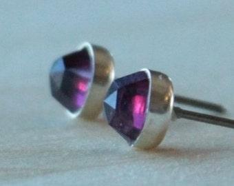 Rose Cut Rhodolite Garnet Gemstone 6mm Bezel Set on Niobium or Titanium Posts (Hypoallergenic Stud Earrings for Sensitive Ears)