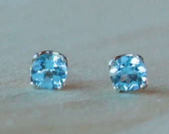 6mm Swiss Blue Topaz Argentium Silver Earrings - Nickel Free Hypoallergenic Stud Earrings