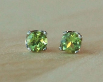 5mm Peridot Argentium Silver Earrings - Nickel Free Hypoallergenic Stud Earrings
