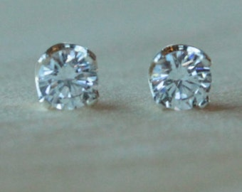 6mm Cubic Zirconia Argentium Silver Earrings - 4 Prong - Nickel Free Hypoallergenic Stud Earrings