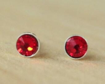 Light Siam Swarovski Crystal (4mm/5mm) Bezel Set on Niobium / Titanium Posts (Hypoallergenic & Nickel Free Stud Earrings for Sensitive Ears)