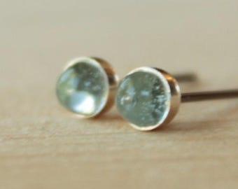 Sky Blue Topaz Gemstone 4mm Bezel Set on Niobium or Titanium Posts (Hypoallergenic Stud Earrings for Sensitive Ears)
