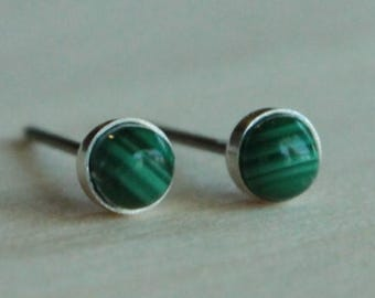 Malachite Gemstone 4mm Bezel Set on Niobium or Titanium Posts (Nickel Free & Hypoallergenic Stud Earrings for Sensitive Ears)