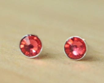 Indian Pink Swarovski Crystal (4mm / 5mm) Bezel Set on Niobium or Titanium Posts (Hypoallergenic Stud Earrings for Sensitive Ears)