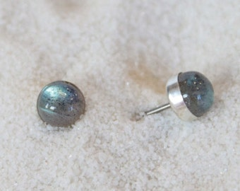 Labradorite Gemstone 6mm Bezel Set on Niobium or Titanium Posts (Hypoallergenic Stud Earrings for Sensitive Ears)