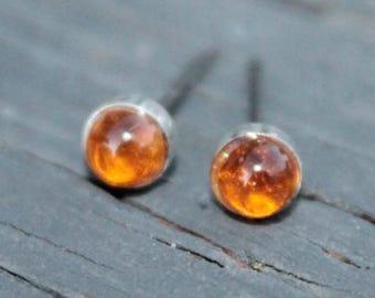 Citrine Gemstone 4mm Bezel Set on Niobium or Titanium Posts (Hypoallergenic Stud Earrings for Sensitive Ears)