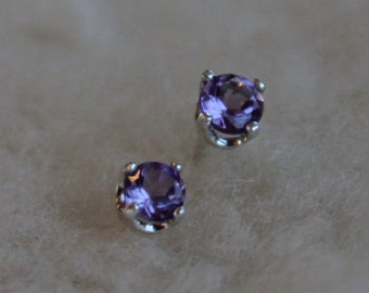 4mm Amethyst Argentium Silver Earrings - Nickel Free Hypoallergenic Stud Earrings