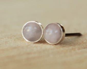 Rose Quartz Gemstone 4mm Bezel Set on Niobium or Titanium Posts (Hypoallergenic Stud Earrings for Sensitive Ears)