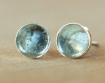 Sky Blue Topaz Gemstone 6mm Bezel Set on Niobium or Titanium Posts (Hypoallergenic Stud Earrings for Sensitive Ears)