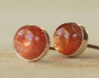 Sunstone Gemstone 6mm Bezel Set on Niobium or Titanium Posts (Hypoallergenic Stud Earrings for Sensitive Ears)