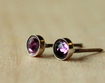 Amethyst Swarovski Crystal (4mm / 5mm) Bezel Set on Niobium or Titanium Posts (Nickel Free Hypoallergenic Stud Earrings for Sensitive Ears)