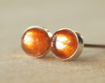 Sunstone Gemstone 5mm Bezel Set on Niobium or Titanium Posts (Hypoallergenic Stud Earrings for Sensitive Ears)