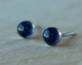 Kyanite Gemstone 4mm Bezel Set on Niobium or Titanium Posts (Hypoallergenic Stud Earrings for Sensitive Ears)