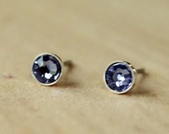 Swarovski Tanzanite Crystal (4mm/5mm) Bezel Set on Niobium / Titanium Posts (Hypoallergenic & Nickel Free Stud Earrings for Sensitive Ears)