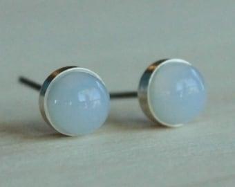 Blue Chalcedony Gemstone 6mm Bezel Set on Niobium or Titanium Posts (Hypoallergenic Stud Earrings for Sensitive Ears)