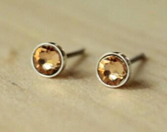 Light Colorado Topaz Swarovski Crystal (4mm / 5mm) Bezel Set on Niobium or Titanium Posts (Hypoallergenic Stud Earrings for Sensitive Ears)