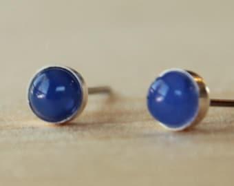 Blue Onyx Gemstone 5mm Bezel Set on Niobium or Titanium Posts (Hypoallergenic Stud Earrings for Sensitive Ears)