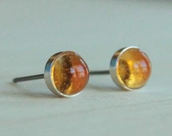Citrine Gemstone 6mm Bezel Set on Niobium or Titanium Posts (Hypoallergenic Stud Earrings for Sensitive Ears)
