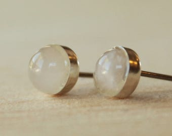 Rose Quartz Gemstone 6mm Bezel Set on Niobium or Titanium Posts (Hypoallergenic Stud Earrings for Sensitive Ears)