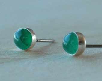 Emerald Gemstone 5mm Bezel Set on Niobium or Titanium Posts (Hypoallergenic Stud Earrings for Sensitive Ears)