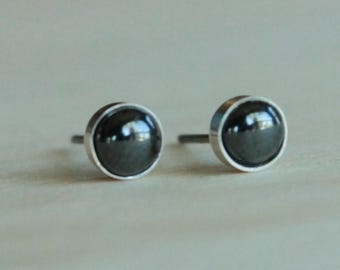 Hematite Gemstone 5mm Bezel Set on Niobium or Titanium Posts (Hypoallergenic & Nickel Free Stud Earrings for Sensitive Ears)