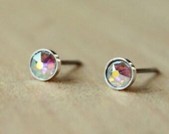 Swarovski Xirius Aurora Borealis Crystal (4mm) Bezel Set Niobium / Titanium Posts (Hypoallergenic & Nickel Free for Sensitive Ears)