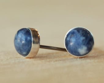 Sodalite Gemstone 6mm Bezel Set on Niobium or Titanium Posts (Hypoallergenic Stud Earrings for Sensitive Ears)
