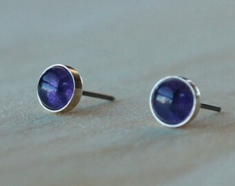 Amethyst Gemstone 6mm Bezel Set on Niobium or Titanium Posts (Hypoallergenic Stud Earrings for Sensitive Ears)