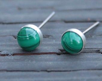 Malachite Gemstone 6mm Bezel Set on Niobium or Titanium Posts (Hypoallergenic Stud Earrings for Sensitive Ears)