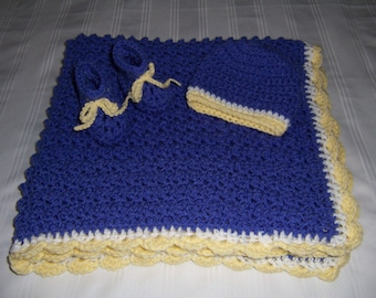 Crochet baby blanket set, baby blanket, baby boy, baby shower gift, newborn gift set, blue, white, yellow