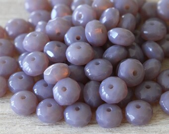 7x5mm Rondelle Beads - Czech Glass Beads For Jewelry Making Beads And Supplies - 5x7mm Milky Lavender Opaline  (10 or 25 beads)