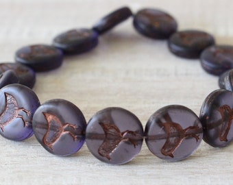 12mm Coin With Bird - Glass Coin Beads - Czech Glass Beads For Jewelry Making - Matte Purple With Copper wash (6 or 15 beads)