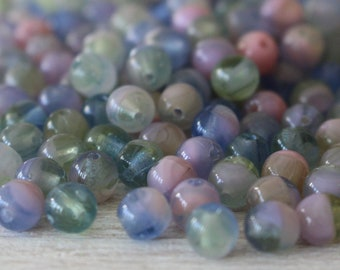 5mm Round Glass Beads 5mm - Pastel Glass Beads For Jewelry Making - 5mm Druk Beads - Czech Glass Beads -  Pink Blue Green Marble - 100 beads