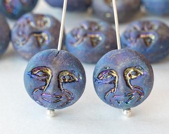 15 - 13mm Moon Face Beads - Man In The Moon Beads - Solstice Beads - Czech Glass Beads - Matte Blue Iris - 15 beads
