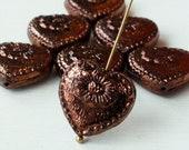 15 - 17 Victorian Heart Bead - Czech Glass Beads - Shiny Metallic Bronze - 15 beads