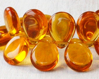 20 - Large Flat Teardrop Beads For Jewelry Making - Glass Briolette Beads 12x16mm - Czech Glass Beads - Amber