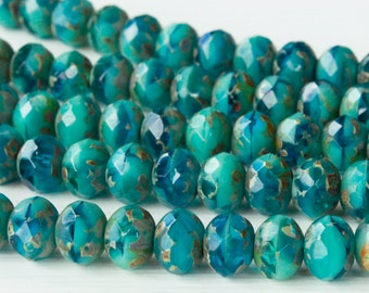 10 Vintage Frosted Aqua Turquoise Czech Shell Glass Beads 15mm