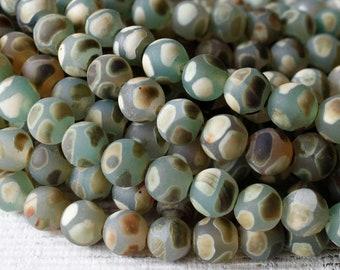 8mm - 10mm Round Tibetan Agate Beads - Jewelry Making Supply - Tibetan Dzi Beads - Green Bohemian Mala Bead Supplies - Choose Amount