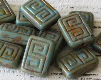 Czech Glass Beads -  Rectangle Greek Key Beads For Jewelry Making Supply - 13x9mm Turquoise Picasso Beads - Choose Amount
