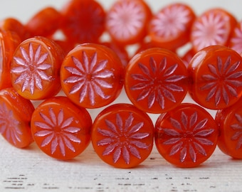 65pcs   red coral coin disc round beads  pink oranger red  loose beads 6mm 16inch