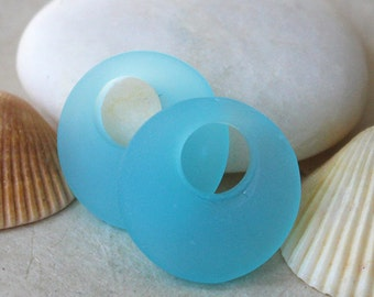 Cultured Sea Glass Beads - Jewelry Making Supply - Frosted Glass Donut Beads - Recycled Glass -  20mm - Aqua 4 donuts