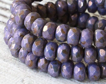 3x5mm Rondelle Beads -  Premium Czech Glass Beads - Czech Rondelle Beads - Purple Bronze Luster - 5x3mm Rondelle (30 beads)