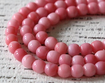 Czech Glass Beads - 4mm Round Glass Beads - Jewelry Making Supplies - Pink Strawberries And Cream - (100 Beads)