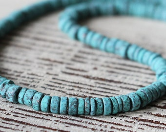 Mykonos Beads -  2-4mm Seed Beads - Jewelry Making Supply - Mykonos Green Patina Beads - Small Heishi - Choose Your Amount